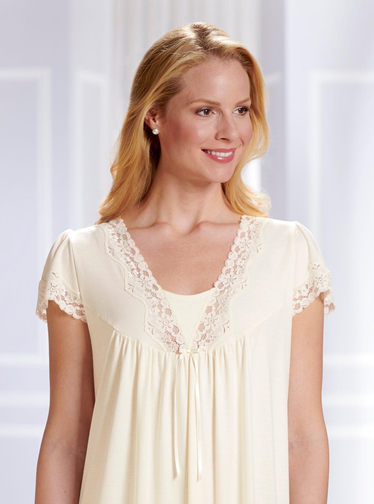 7e877be59e Soft Short Sleeve Lace Nightdress - Natural Jersey Cotton - Nightwear