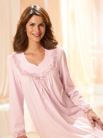 8293 - Pink - Classic Long Sleeved  Lace-trimmed Nightdress
