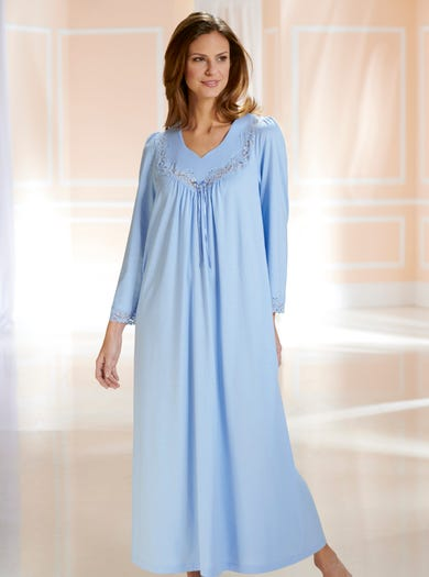 8293 - Hyacinth - Classic Long Sleeved Lace-trimmed Nightdress