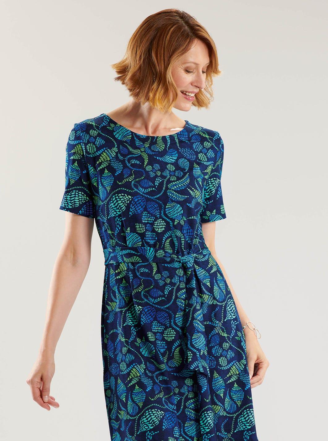 Stretch Jersey Belted Dress