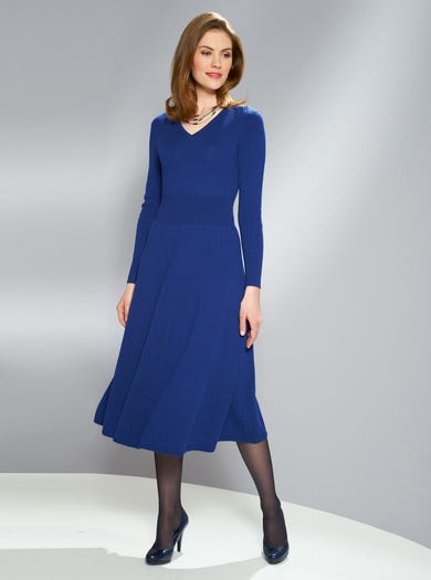 9151 - Cobalt Blue - Finest Ribbed Merino Dress