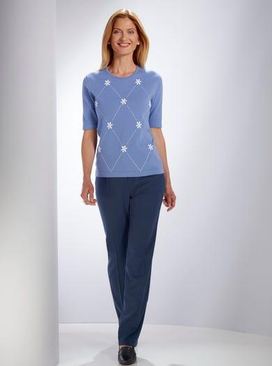 9156 - Wedgewoodblauw - Luchtig katoenen sweater