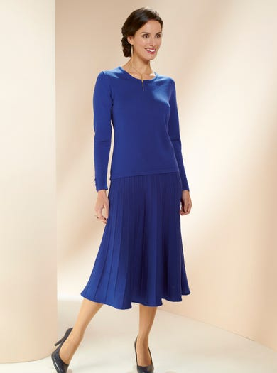 9162 - Cobalt Blue - Merino Scoop Neck Jumper