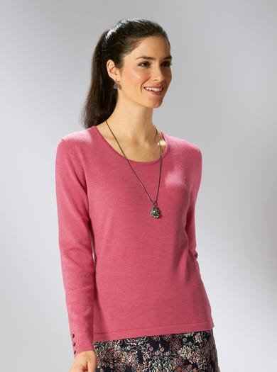 9162 - Raspberry - Merino Scoop Neck Jumper