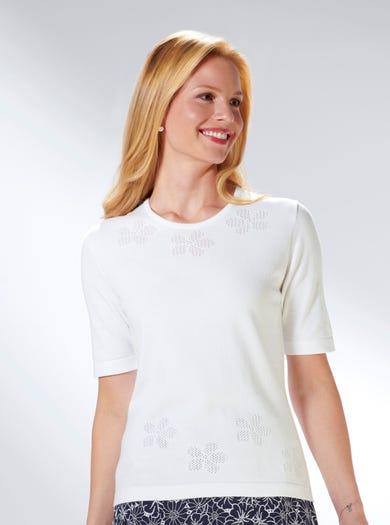 9225 - Blanc - Pull ajouré uni en fin coton