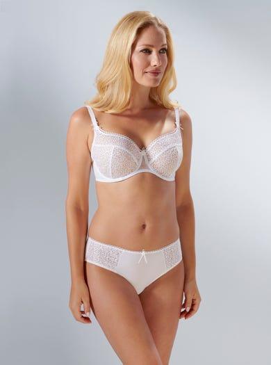 9294 - Weiß - 'Kate' Bestickter Spitzenslip