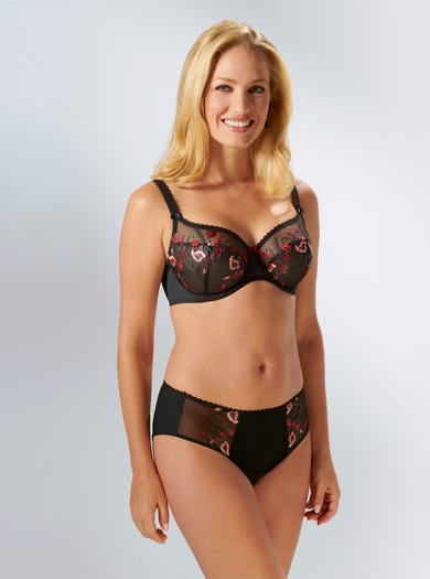 9299 - Schwarz - 'Ashley' Bestickter Taillenslip