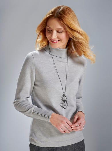 9333 - Silver Grey - Warm Merino Jumper
