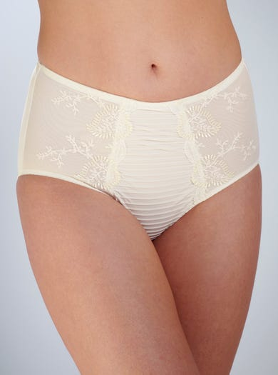 9386 - Ivory - Embroidered Shaping Brief by Louisa Bracq