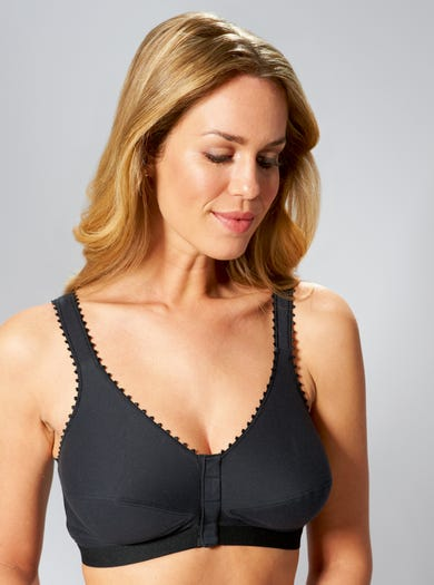 9430 - Black - Front-Fastening Comfy Care Bra by Royce