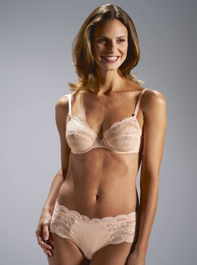 9453 - Peach - Luxury Lightweight Lace Bra by Maison Lejaby