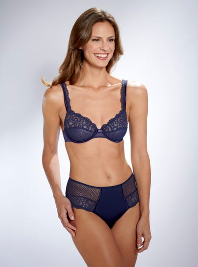 9587 - Navy - Soft Stretch Lace Briefs by Maison Lejaby