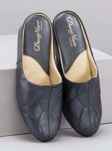 9648 - Black - Soft Leather Mules