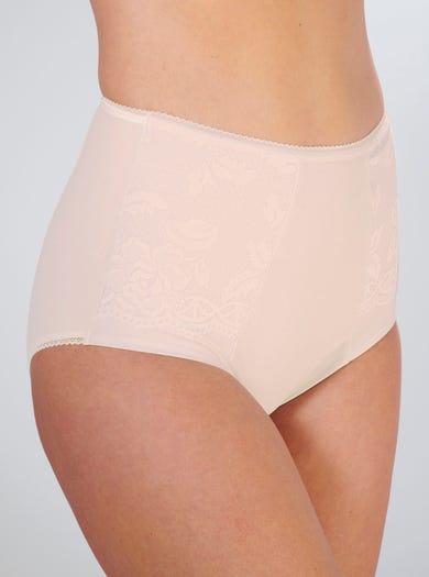 9734 - Rose - Culotte ventre-plat à dentelle