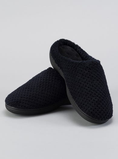 9796 - Black - Textured Towelling Mules