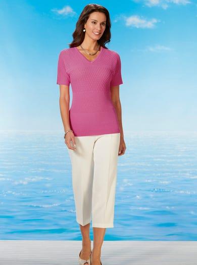 9814 - Pink - Textured Cotton Jumper