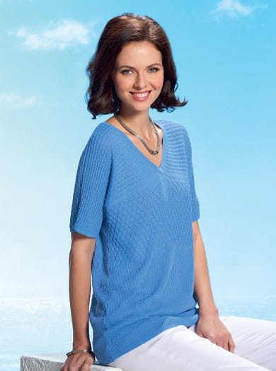 9814 - Wedgwood - Textured Cotton Jumper