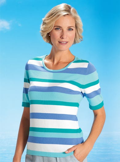 9820 - Aqua - Stripe Stripe Cotton Jumper