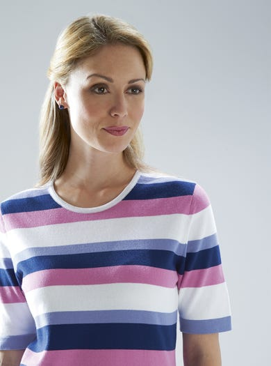 9820 - Rose - Stripe Cotton Jumper