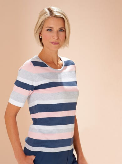 9820 - Silver - Stripe Cotton Jumper