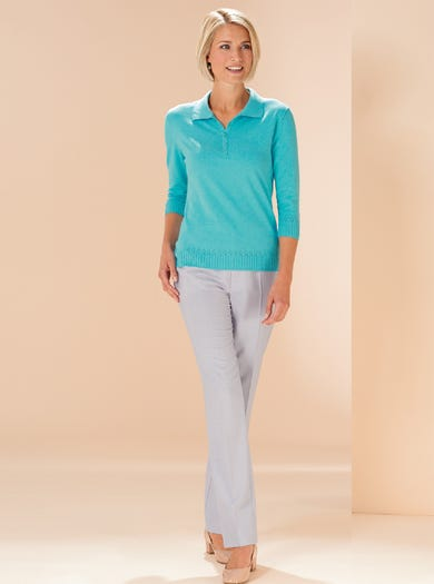 9825 - Aqua - Soft Cotton Polo Knit