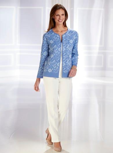 9827 - Bleu porcelaine - Cardigan luxueux en coton