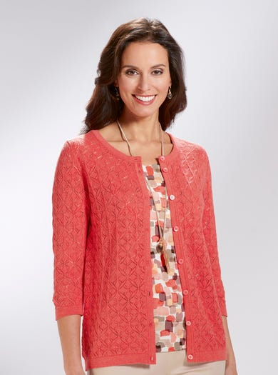 9828 - Coral - Pure Cotton Cardigan