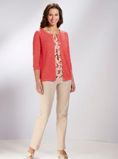 9828 - Coral - Pure Cotton Cardigan