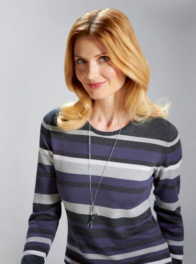 9833 - Grape - Striped Merino Knit