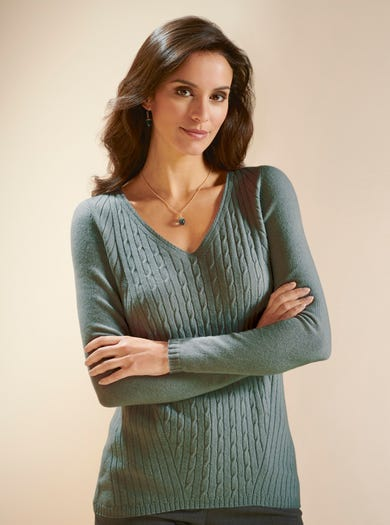 9835 - Thyme - Pure Cashmere Jumper