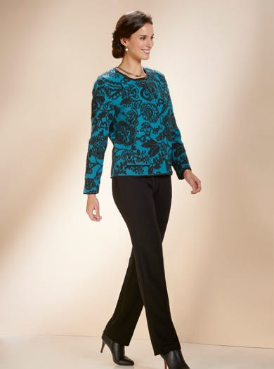 9839 - Teal/Black - Supersoft Wool Jacket