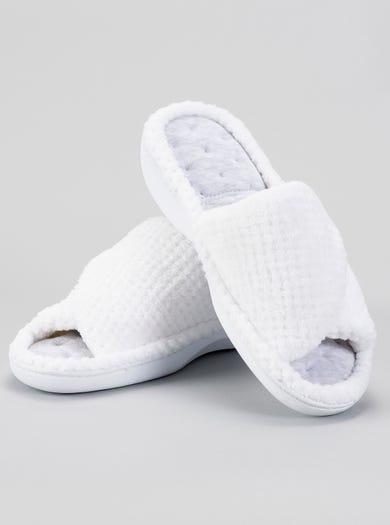 9846 - White - Popcorn Peep Toe Mule