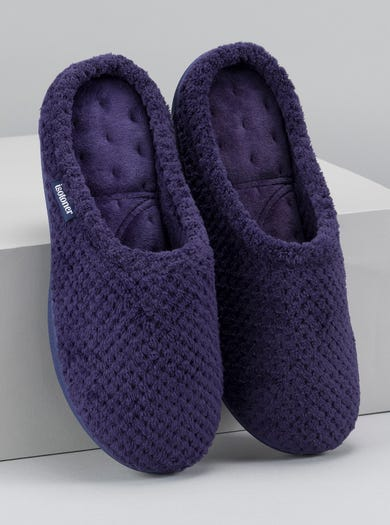 9847 - Navy - Textured Towelling Mules