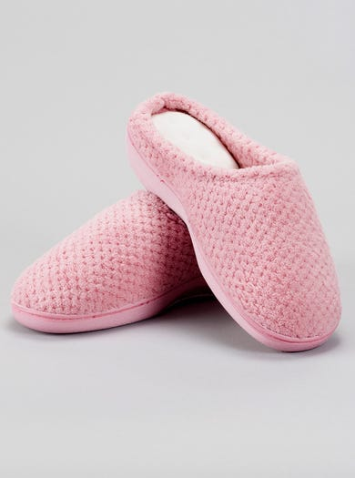 9847 - Dusky Pink - Textured Towelling Mules