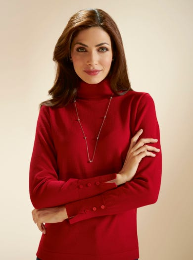 9865 - Red - Luxury Merino Rollneck