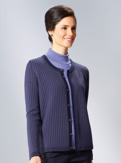 9873 - Navy - Smart Soft Merino Cardigan