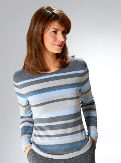 9875 - Silver Grey - Soft Merino Striped Knit