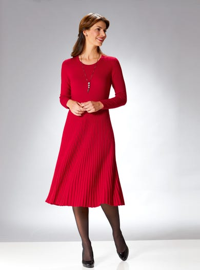 9880 - Red - Luxurious Merino Dress