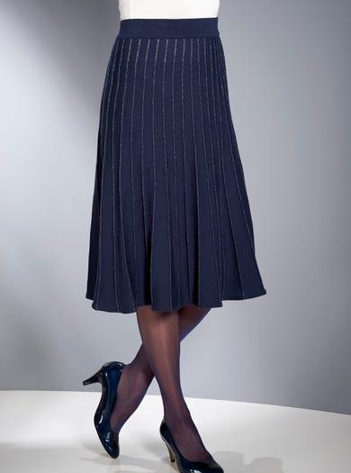 9882 - Navy - Merino Shimmer Skirt