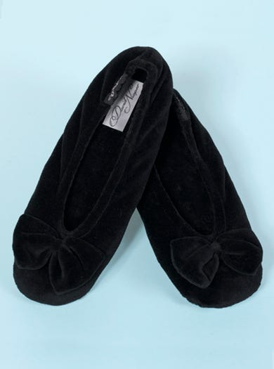 9898 - Black - Velour Bow Slippers