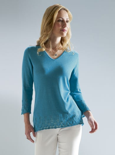 9921 - Lagoon - Luxury Silk Cotton Jumper