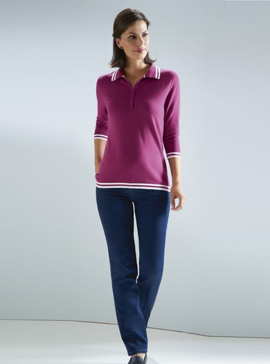 9923 - Cyclamen - Smart Cotton Polo Jumper