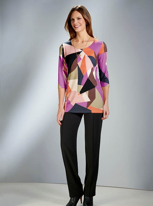 Geometric Print Tunic with Classic Black Trousers