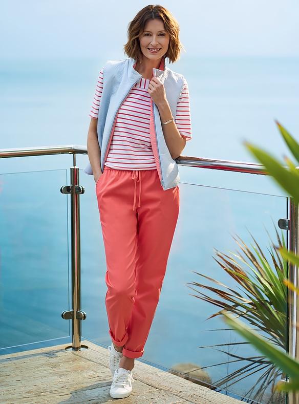Luxe damesgilet, Zachte jersey top, Stretch pantalon