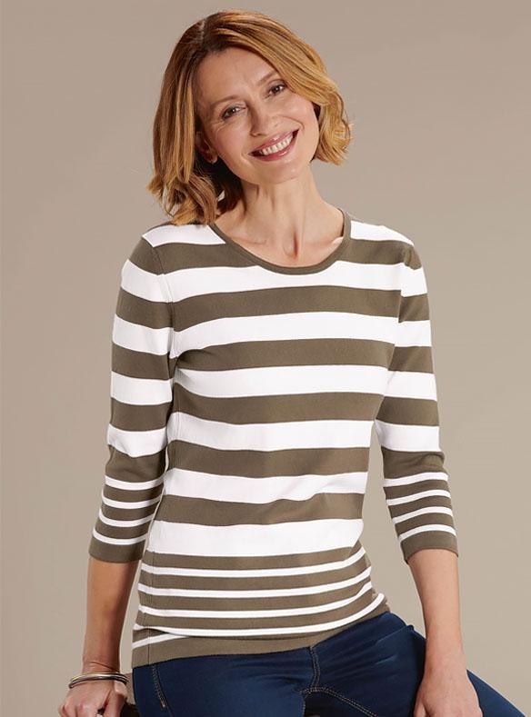 Olive Striped Knit