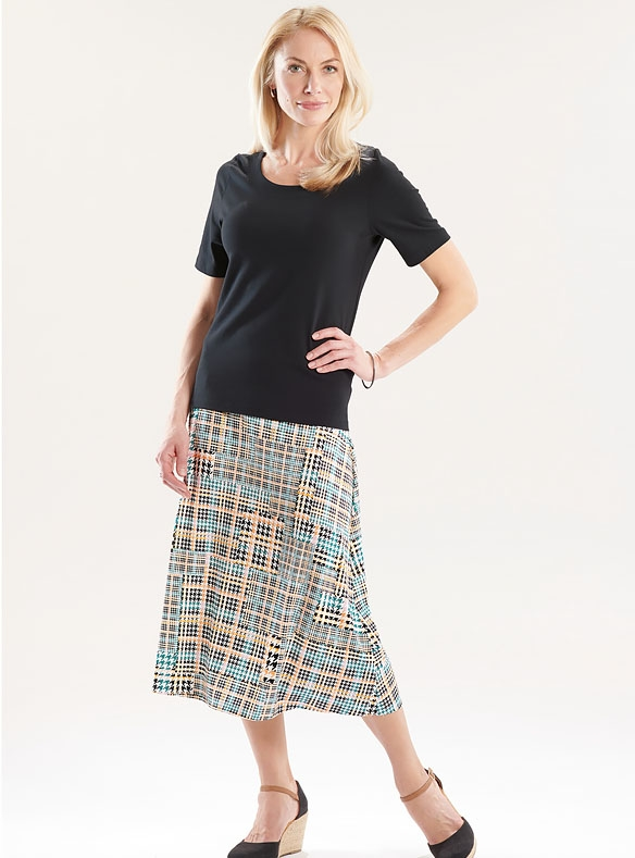 Checked Jersey Skirt