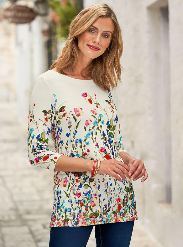 Tunique fleurie en jersey