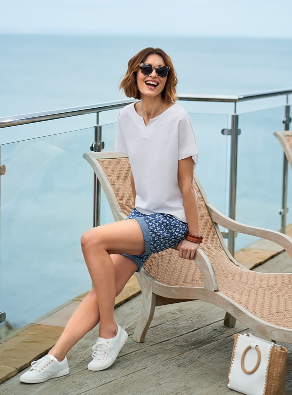 Linen-blend Top & Cotton Shorts