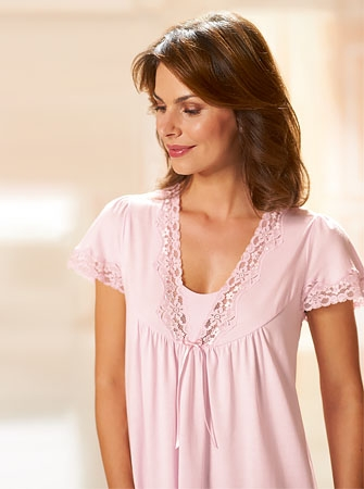 Short Sleeve Lace Nightdress